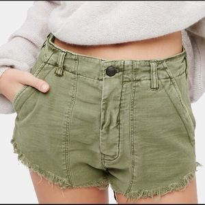Free People Army Green Stand-off Raw Hem Shorts
